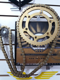 Kit Transmissão Crf 230 Dourado Corrente Kmc Com Retentor