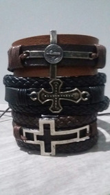 Pulseira Masculina Bracelete Kit 3 Un Couro Fecho Ajustável