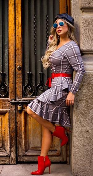Vestido Cinza Com Preto Xadrez Tam M