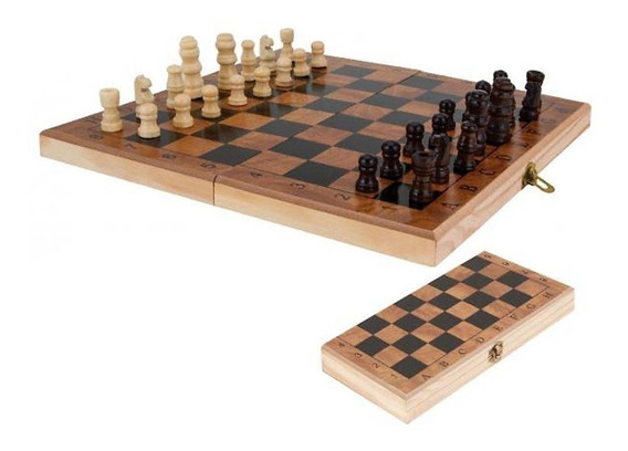 Jogo Xadrez Dobrável Em Madeira Unyhome 29x29 Jg172002