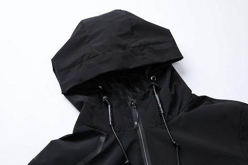 con capucha resistente al viento impermeable para senderismo UDAREIT Chaqueta cortavientos para mujer