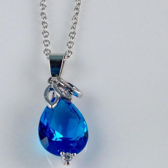 Colar E Brincos Feminino Gota De Topazio Azul Prata 925