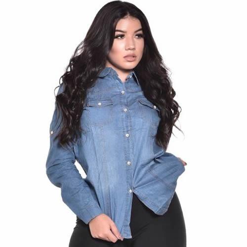 Camisa Jeans Feminina Camiseta Blusa Manga Longa Moda 514