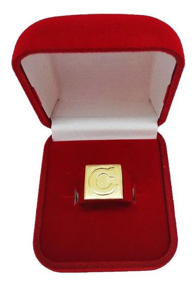 Anel De Letra Masculino Em Ouro 18kl 750