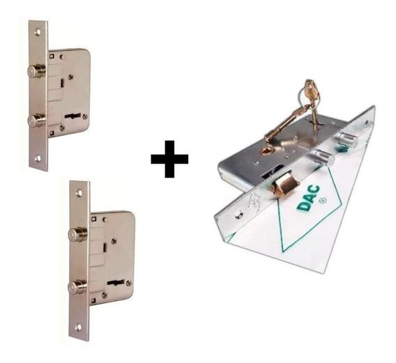 2 Cerrojos + Cerradura Combinados Misma Llave Con Pernos Dac