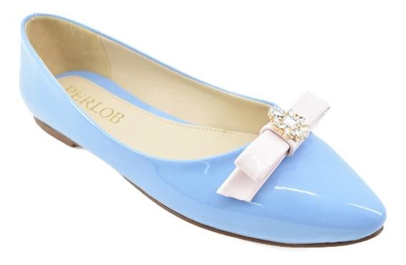 Zapatos De Mujer Flats Perlob Eclat Azul Claro-forro De Piel