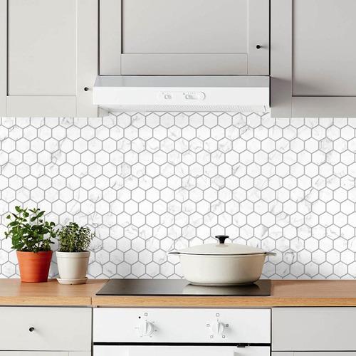 Imagen 1 de 2 de Lamina Azulejos Autoadhesivos Hexagonales Mármol