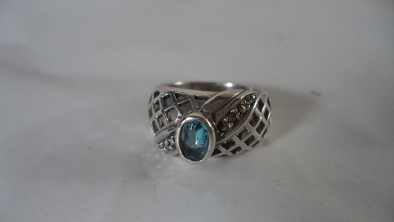 Anel Em Prata 925 Marcassitas E Cristal Azul Aro 16 Antigo