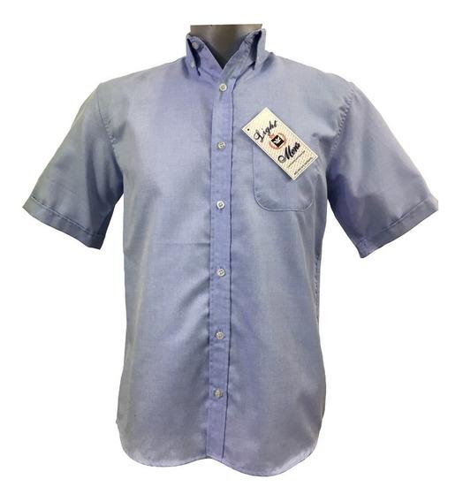Camisa Azul Manga Corta Casual Hombre
