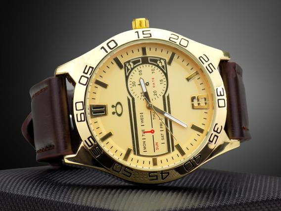 Relógio Masculino Dourado Marrom Preto Original + Caixa