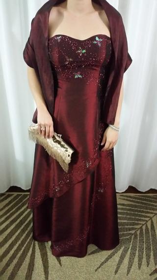 Vestido De Festa Longo Em Tafetá (bordado) - Vinho