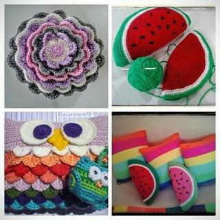Almohadones Tejidos Al Crochet Originales Y Coloridos!!!