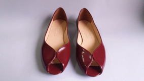 Peep Toe Verniz - Bordo