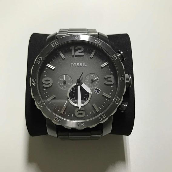 Relógio Fóssil Masculino Usado Original Cinza Escuro Perfeit