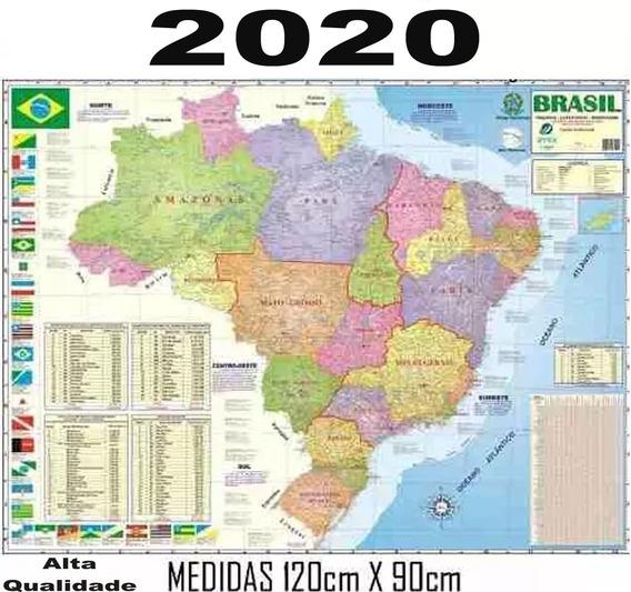 Mapa Brasil Politico Rodoviário 120 X 90 Cm