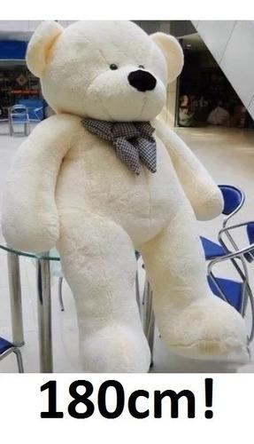 Urso Grande Creme Pelúcia Branco 1,8 Mt 180cm Com Enchimento