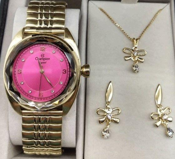 Relógio Champion Dourado Rosa Strass Diamantado Cn27858j