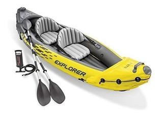 Lancha Intex 2 Personas Con Remos Y Bomba Kayak Inflable