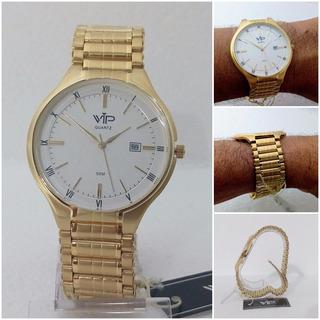 Relógio Vip Masculino Dourado Ouro Original Luxo 12x S/juros