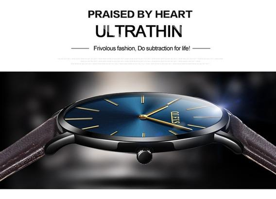 Relógio Fino Luxo Slim - Masculino Olevs Couro Mod 5868