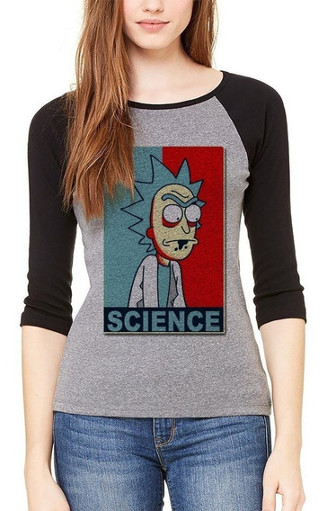 Playera Blusa Game Rick Y Morty Science Raglan #550