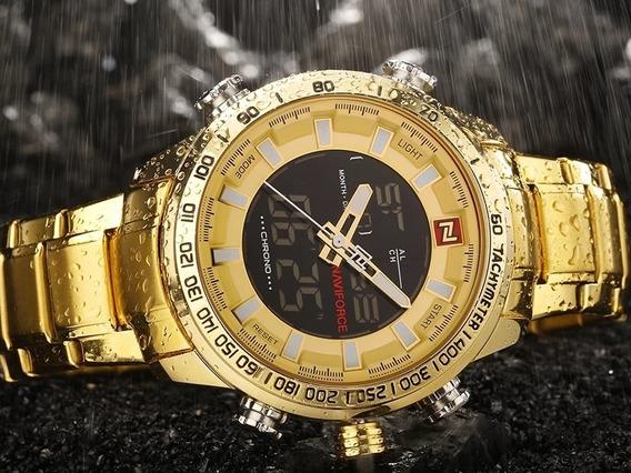 Relógio Dourado Naviforce Alta Qualidade A Prova D