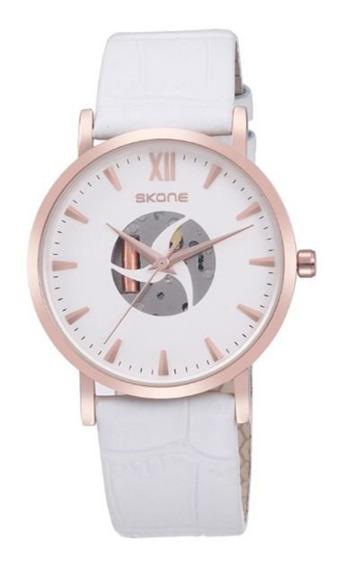 Relógio Feminino Skone Analógico Branco Com Nf
