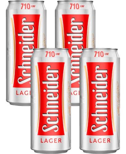 Cerveza Schneider Lager Rubia Lata 710ml X4 Unidades