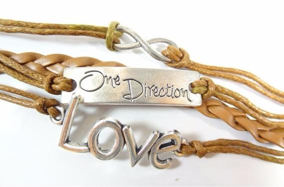 Pulseira Feminina One Direction Love Em Couro E Metal J3020