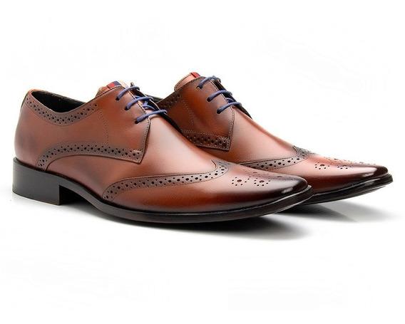 Sapato Masculino Brogue Couro Bigioni Solado Couro Amarrar