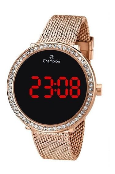 Relógio Digital Feminino Champion Ch48037p Rosê Pedrinhas