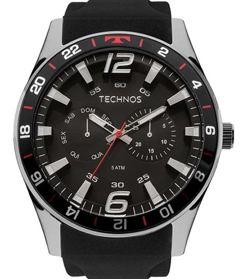 Relógio Technos Masculino Racer 6p25bn/8p Pulseira De Silicone Preta Original C/ Garantia De 1 Ano