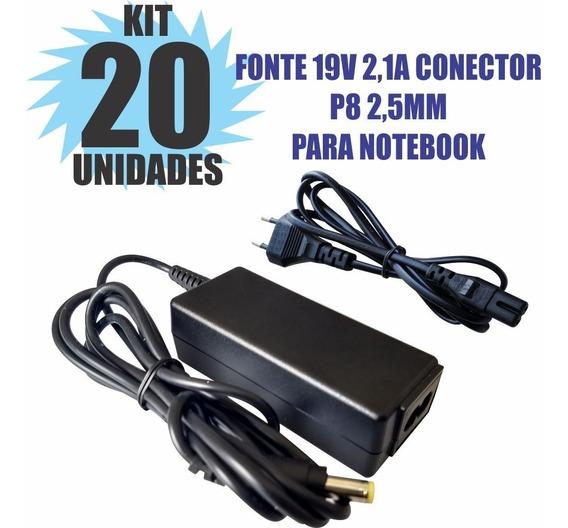 Kit 20 Peças Fonte Carregador 19v 2.1a Notebook