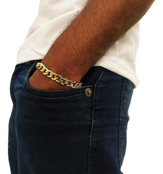 Bracelete Masculino Dourado Com Garantia E Nota Fiscal