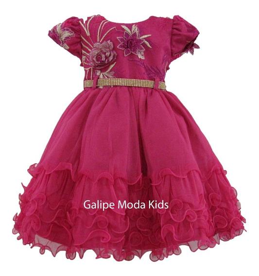 Vestido Infantil Pink Princesas Barbie Marsha E Urso 1 Ao 3
