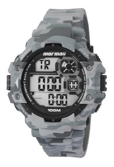 Relógio Masculino Mormaii Mo13609a/8c 55mm Cinza Camuflado