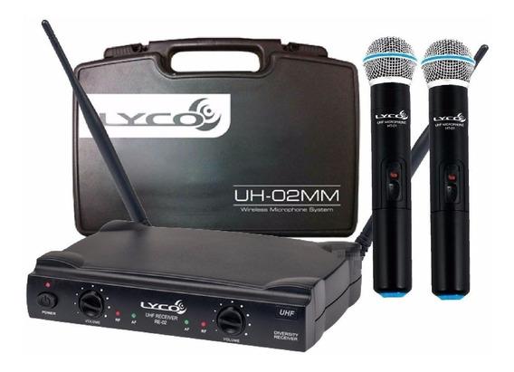 Microfone Sem Fio Duplo Uh02 Mm Lyco = Shure Promoção
