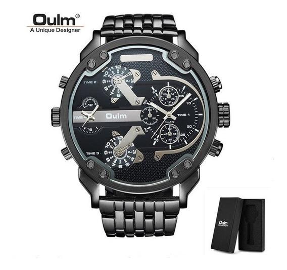 Big Relógio Masculino Aço Inoxidável Oulm 3548 Black