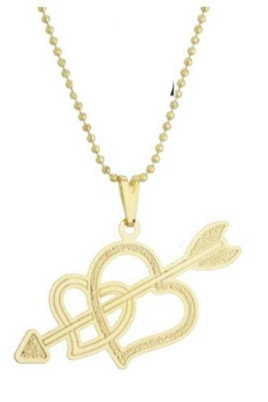 Gargantilha,colar Cupido - Dois Corações Folheado A Ouro