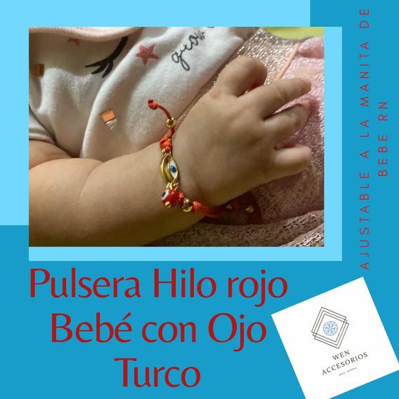 Pulsera Ojo Turco Color Roja Ajustable Para Bebé Desde Rn
