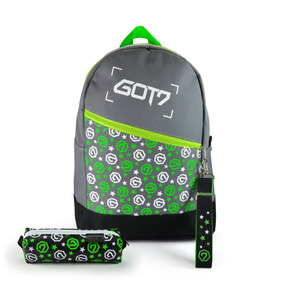 Mochila Escolar Kpop + Estojo + Chaveiro Got7 Logos