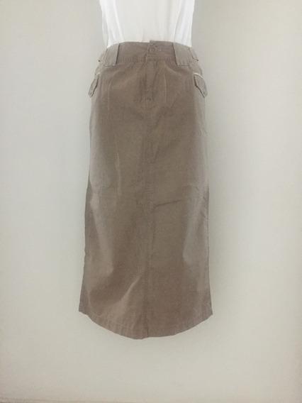 Falda Tres Cuarto Caqui En Algodón - Talla S