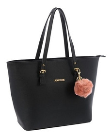 Bolsa Bolso Dama Color Negro Blanco 8588 Jennyfer Original