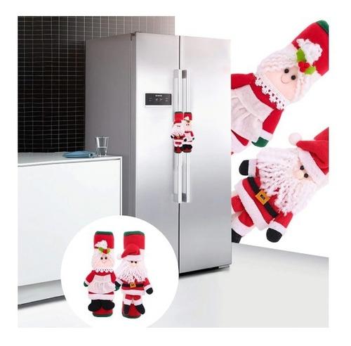 Decoración Navideña Refrigerador Santa Claus Decoracion 2 Pz