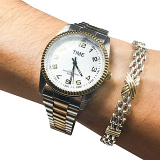 Combo Reloj Time + Pulsera Plata Y Oro Hombre Regalo Papá