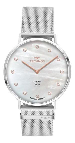 Relógio Unissex Technos Slim 2025ltl/1b 35mm Aço Prata