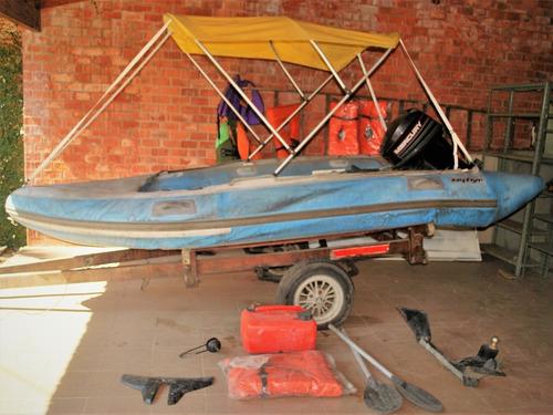 Bote Inflável Com Motor 25hp, Capota, Carreta E Assessórios
