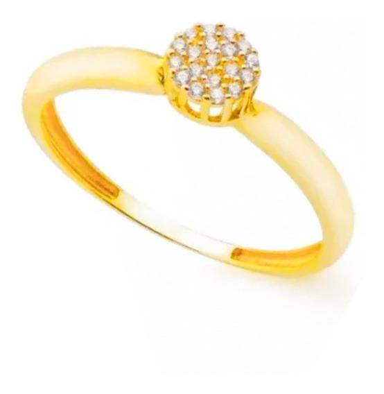 Anel Chuveiro Noivado Solitário Ouro 18k 750 Pedras Luxo