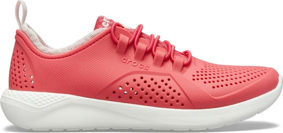 Zapato Crocs Infantil Literide Pacer K Rosa/blanco