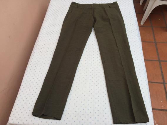 Pantalon Lino Mujer Verde Militar Recto Talle 6 O 44